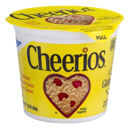 (6 Pack) Cheerios Cereal Cup, Gluten Free Cereal, 1.3 oz, 1.3 OZ