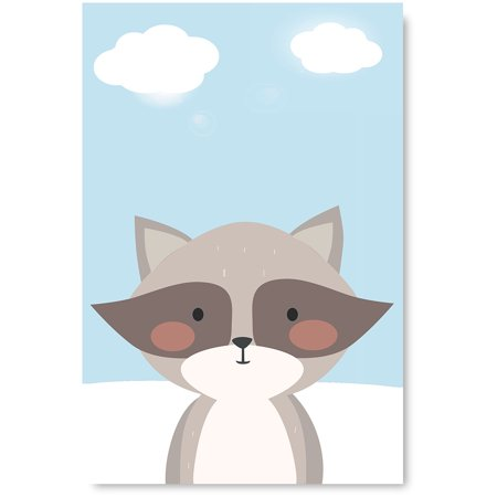 Awkward Styles Raccoon Unframed Picture Baby Girl Lovely Room Wall Decor Baby Boy Room Poster Wall Decor Raccoon Printed Artwork for Home Decor Raccoon Inspirational Wall Art Kids Room Decor](Artwork For Kids)