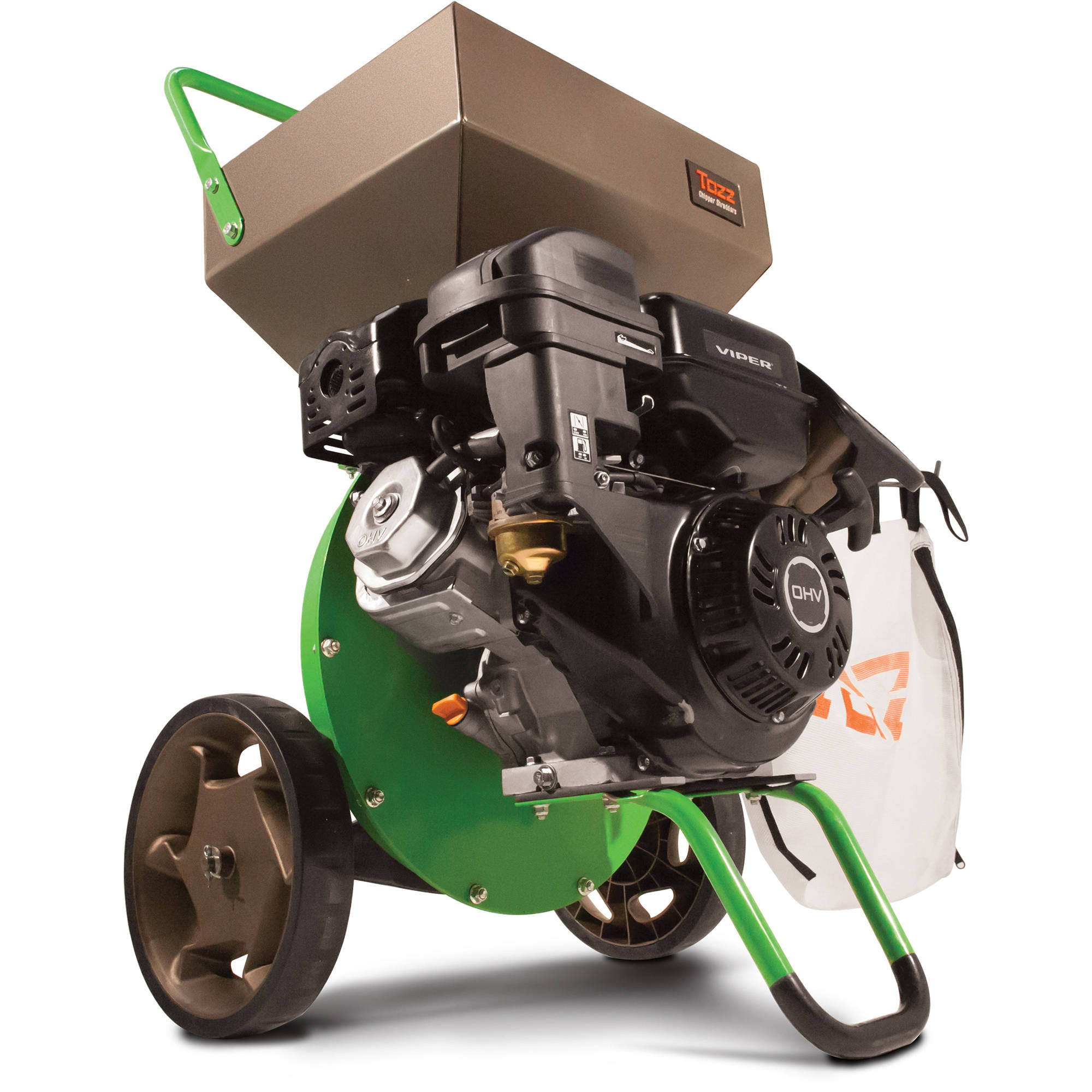 Tazz Chipper Shredders K33 Chipper Shredder with 301cc Viper Engine, Green