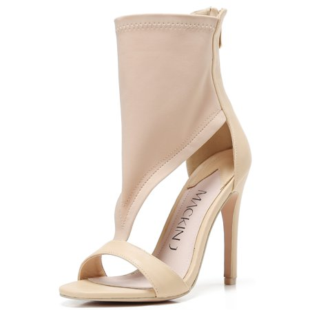 213-20 Ankle High Open Toe Elastic T Strap High Heel Sandal