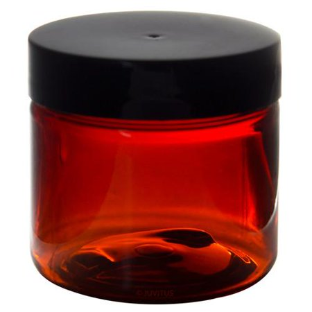 Amber 2 oz PET (BPA Free) Plastic Jar (4 pack) + Spatulas and Labels
