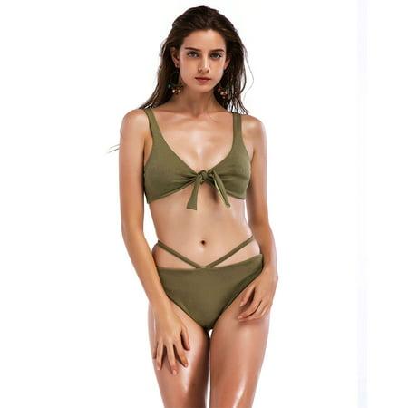 - Women Sexy Push-Up Bikinis Sexy Bandage Design Knotted Bikini Swimsuit Women High Waist Swimwear Swimming Trunks
