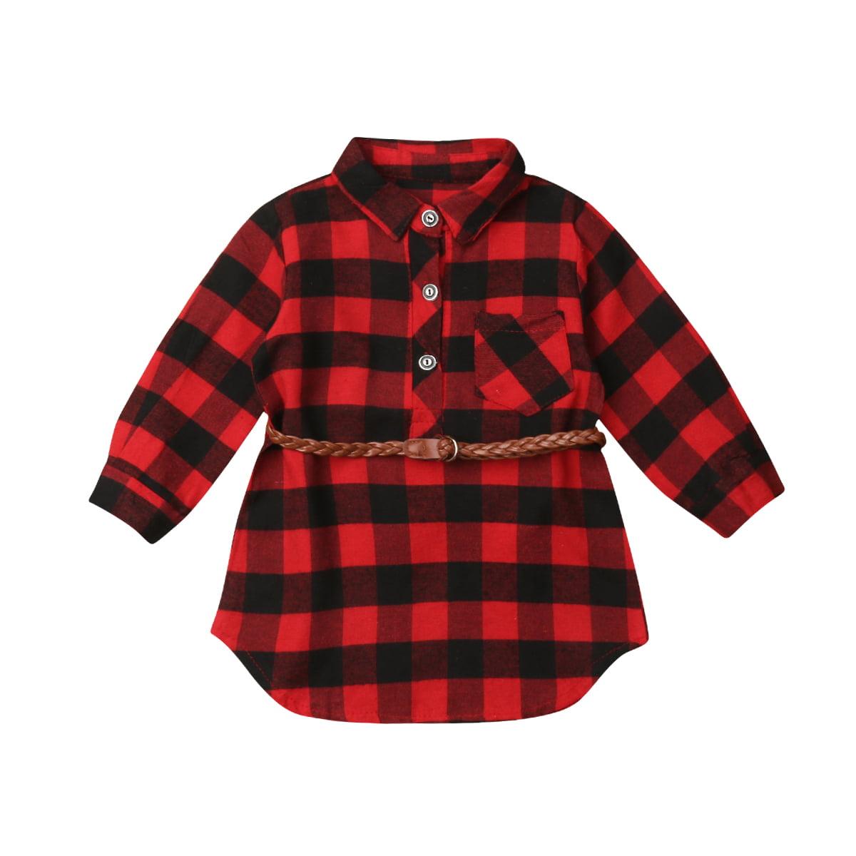 Toddler Baby Girls Christmas Dress Red//Red Plaid Long-Sleeves Black Belt Little Girls Princess Dress