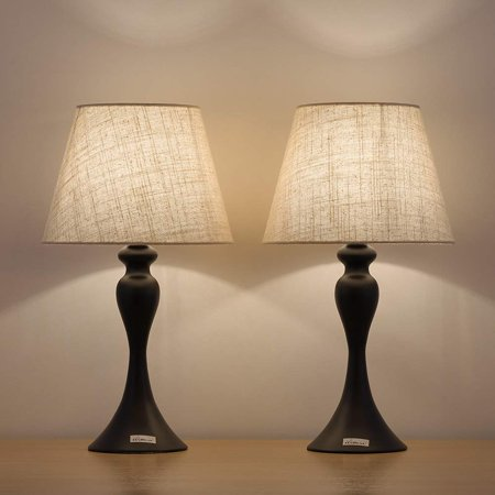 HAITRAL Small Black Minimalist Metal Bedside Lamp Set of 2 for Bedrooms, Living Room, Office Reading Lamp (HT-AD008) ()