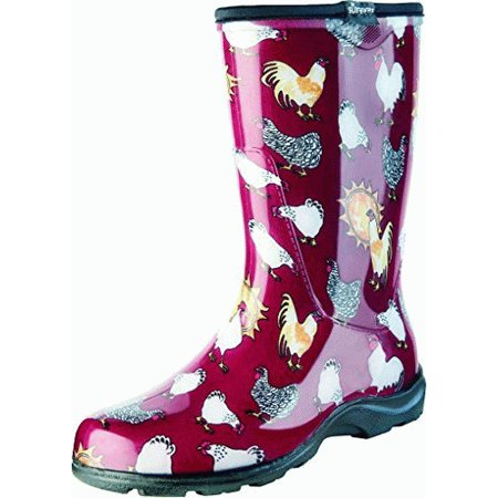 08 Dc Boot (Sloggers Women's Rain & Garden Boots - Barn Red Chicken Print)