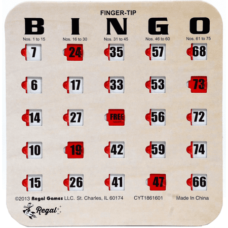 Regal Games 100 Woodgrain / Tan Fingertip Shutter Slide Bingo Cards - Bingo Game Set