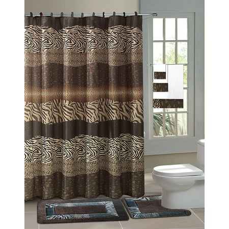 Zambia Brown Safari 15 Piece Bathroom Accessory Set 2 Bath Mats Shower Curtain 12 Fabric Covered Rings