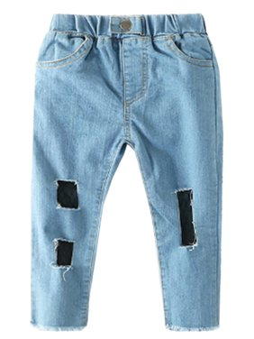 stylesilove Chic and Fun Girls Skinny Jeans With Mesh Lining (120/5-6 Years)