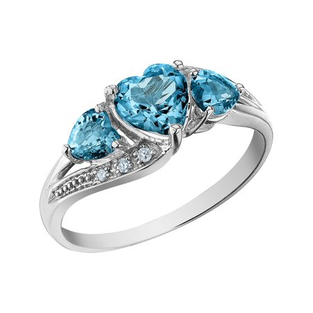 Blue Topaz Heart Ring with Diamonds 1.25 Carat (ctw) in 10K White Gold Ctw Citrine Ring