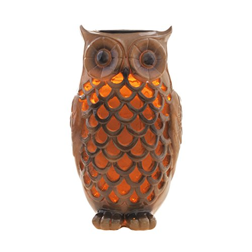 Solar Powered Owl Light Decoration- Ultra Durable Polyresin- Highest Capacity Battery-... by Solario
