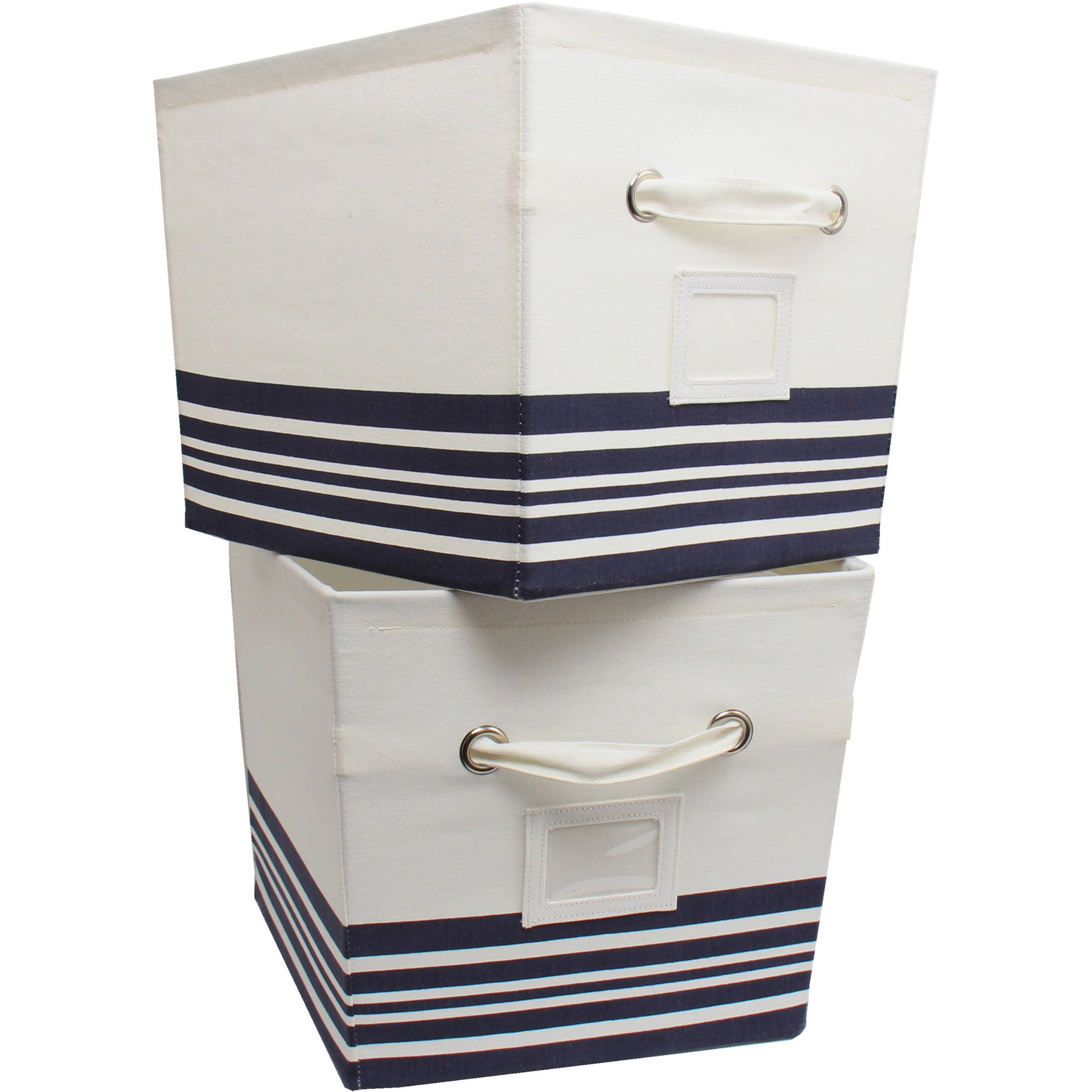 Mainstays Large Canvas Bins 2 Pack Nautical Stripe