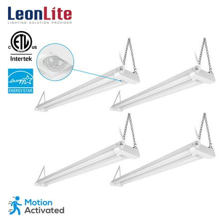 Led Utility Light (LEONLITE 4 Pack 4ft Linkable LED Motion Activated Utility Shop Light, 40W (120W T8 Tubes Equiv.) LED Ceiling Fixture, 4100lm, Energy Star & ETL Listed, 4000K Cool White, for Garage/Basement/Workshop)