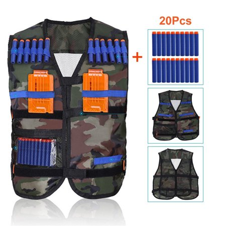 Walfront Kids Elite Camouflage Tactical Vest with 20 Pcs Blue Soft Foam Darts and 2 Pcs Replacement Plastic Magazines Clips for