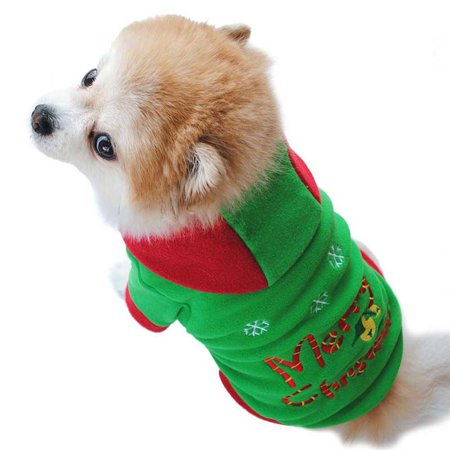 Ropalia Doggy Apparel Pet Christmas Puppy Thickening Hooded Clothing (Doggy Christmas)