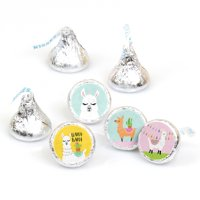 Whole Llama Fun - Llama Fiesta Baby Shower or Birthday Party Candy Sticker Favors - Labels Fit Hershey's Kisses-108 Ct