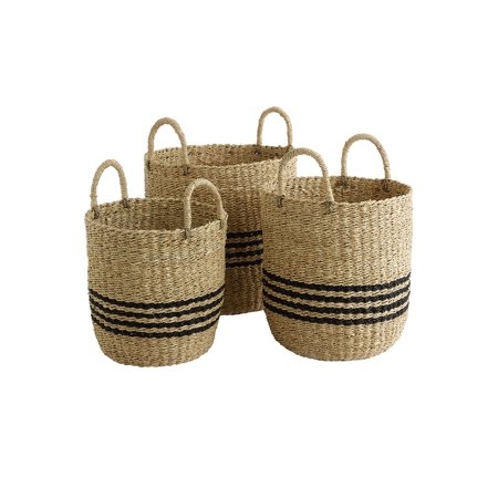 Design Ideas Scarborough Baskets, Nested Set of 3 Natural Woven Seagrass and Palm Leaf Storage Bins with Handles, Black and Tan Striped
