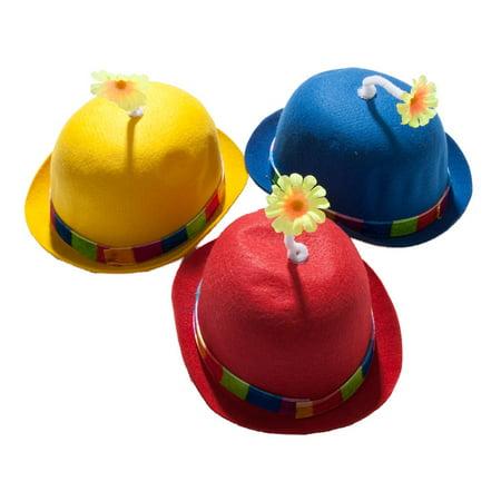 US Toy - Flower Bowler Hat (Assorted Colors), 1 Per - Kids Bowler Hat