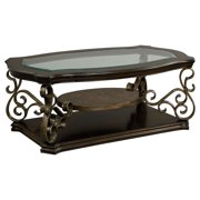 Standard Furniture Seville Rectangle Wood and Glass Top Coffee Table