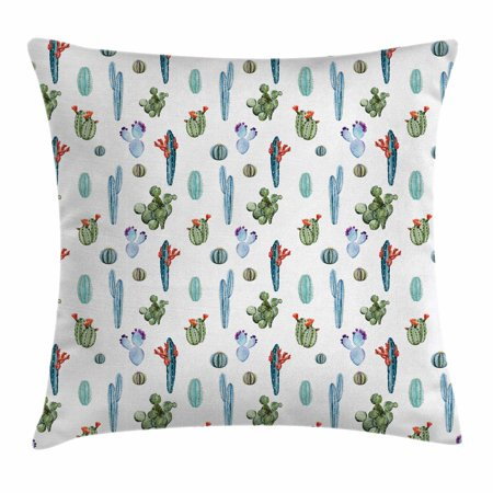 Cactus Decor Throw Pillow Cushion Cover, Botany Exotic Nature Themed Pattern with Various Watercolor Desert Plants, Decorative Square Accent Pillow Case, 16 X 16 Inches, Multicolor, by Ambesonne - Desert Theme