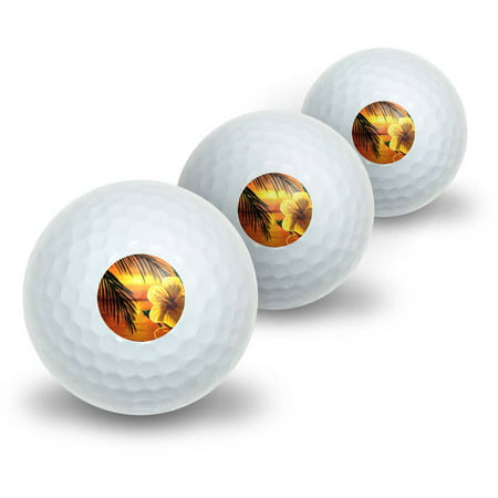 Orange Beach Sunset with Hibiscus Flower Palm Tree Ocean Vacation Hawaiian Novelty Golf Balls, 3pk