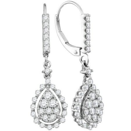 14k White Gold Round Diamond Teardrop Frame Cluster Dangle Earrings (7/8 Cttw)