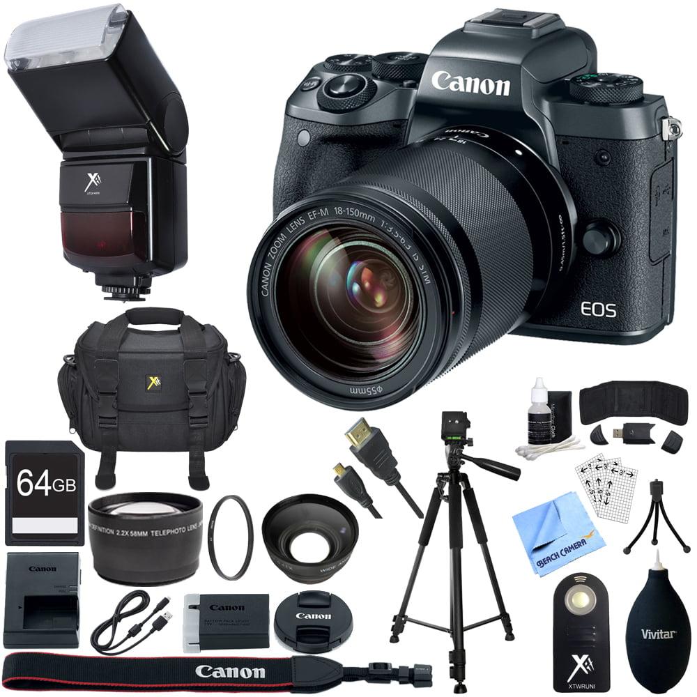 canon eos m5 mirrorless digital camera black ef m 18 150mm is stm lens kit 64gb sdxc memory. Black Bedroom Furniture Sets. Home Design Ideas