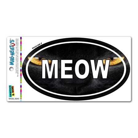 Meow Black Cat Yellow Eyes - Euro Oval MAG-NEATO'S(TM) Car/Refrigerator Magnet Cat Eye Cadence Magnet