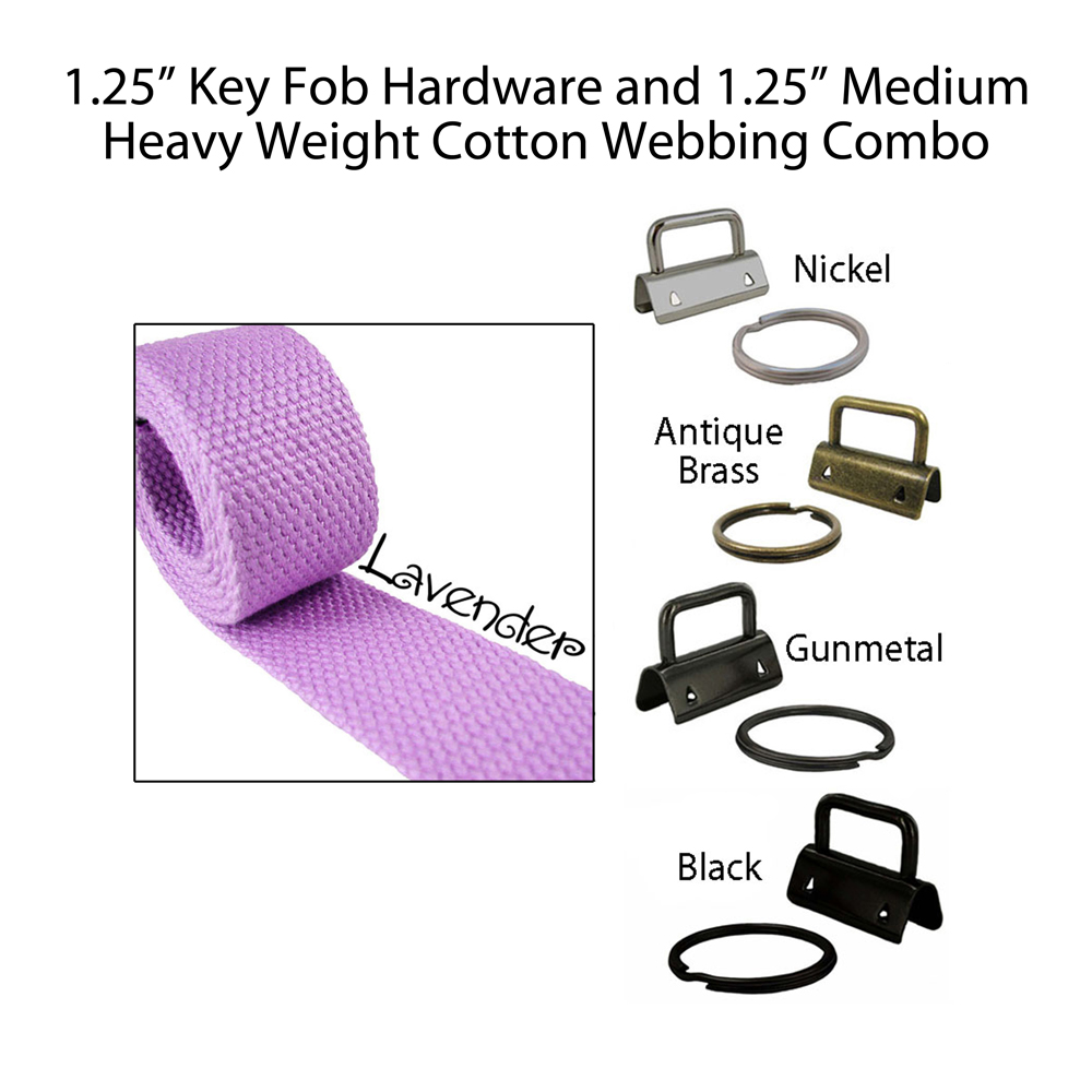 """1.25"""" Key Fob Hardware and 1.25"""" Cotton Webbing Combo - Lavender"""