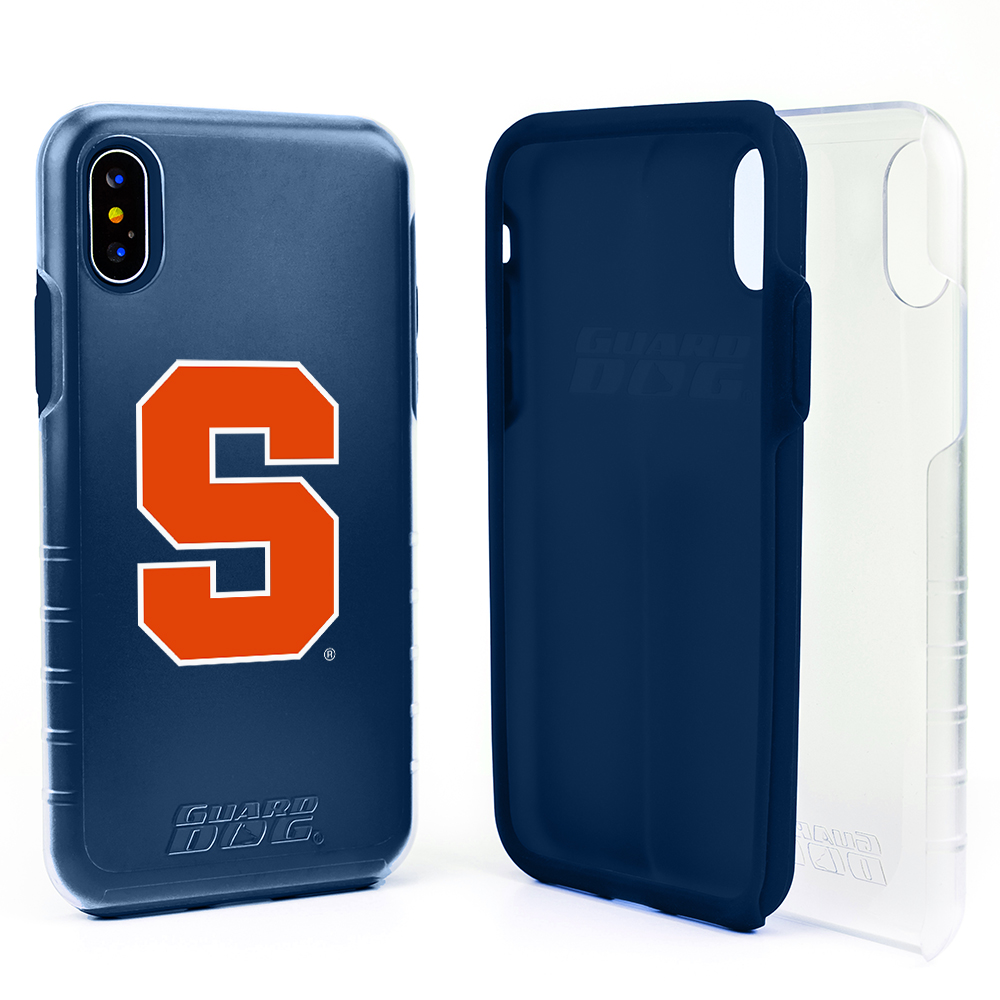 Syracuse Orange Clear Hybrid Case for iPhone X / Xs with Guard Glass Screen Protector - Clear with Dark Blue