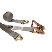 """2"""" x 16' Gray Plate Trailer Strap w/ F-Hook And Ratchet"""