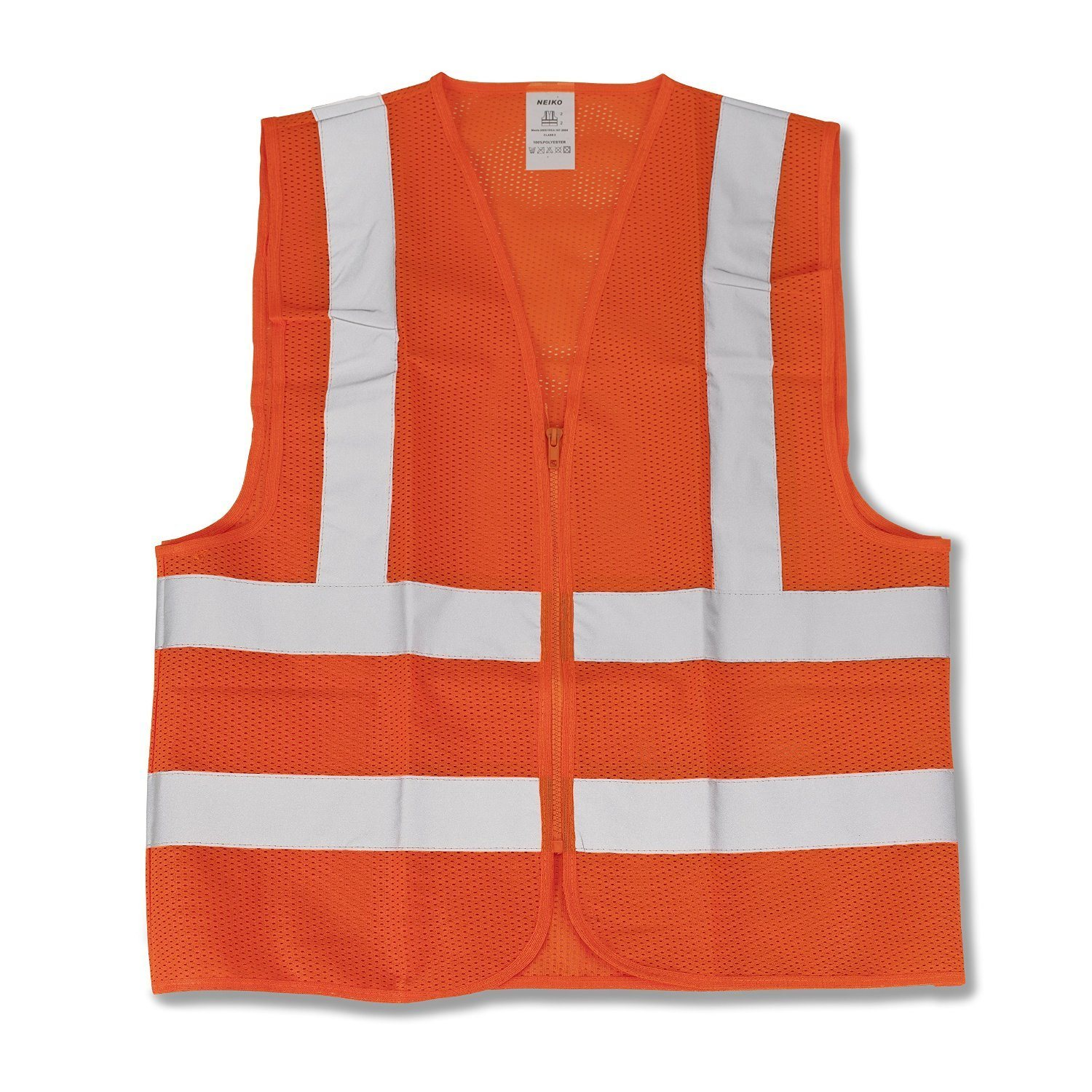 Neiko 53944A High Visibility Neon Orange Safety Vest with Reflective Strips