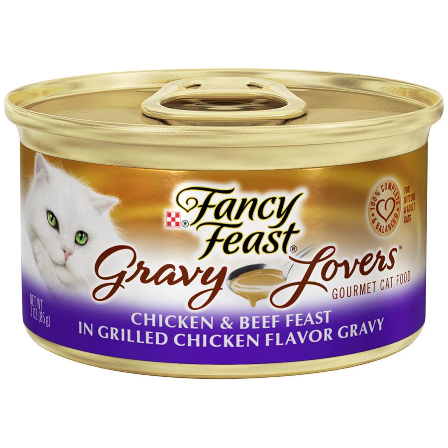 (4 Pack) Purina Fancy Feast Gravy Lovers Chicken & Beef Feast in Grilled Chicken Flavor Gravy Wet Cat Food, 3-oz. Can