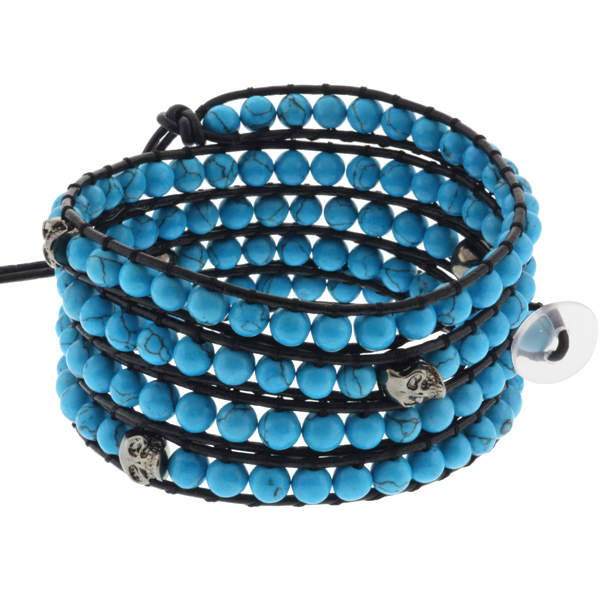 "36"" Blue Simulated Turquoise & Skeleton on Black Leather Wrap Bracelet w/ Button"