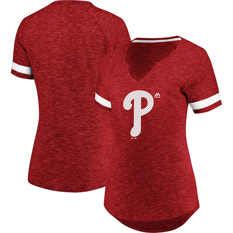 Philadelphia Phillies Majestic Women's Game Stopper Raglan T-Shirt - Red