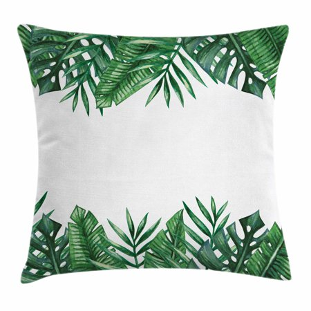 Palm Leaf Throw Pillow Cushion Cover, Framework with Rainforest Foliage Leaves in Watercolors, Decorative Square Accent Pillow Case, 18 X 18 Inches, Hunter Green Forest Green White, by Ambesonne