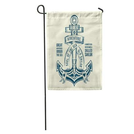 KDAGR Tee Anchor Sailor Graphic Naval Ship Vintage Adventure Antique Badge Garden Flag Decorative Flag House Banner 12x18