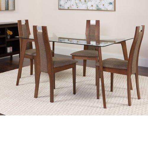 Winston Porter Hutchison 5 Piece Solid Wood Dining Set
