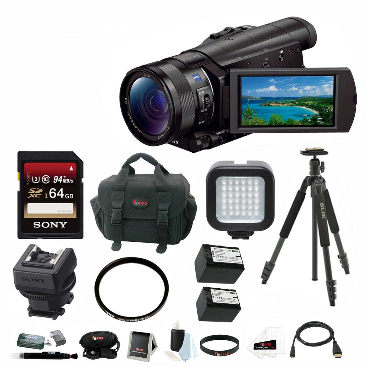 Sony 4K Ultra HD Camcorder (Black) with Silk Sprint Tripo...