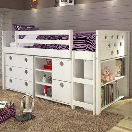 Donco Kids Circles Twin Loft Bed With Storage Walmart Com