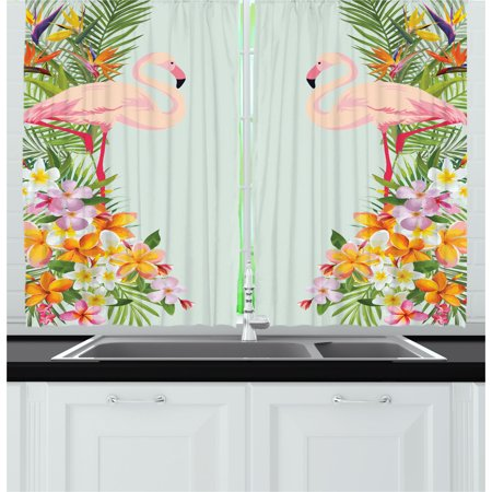 Floral Curtains 2 Panels Set, Flamingo Birds and Tropical Flowers Exotic Hawaiian Wildlife Animals Print, Window Drapes for Living Room Bedroom, 55W X 39L Inches, Baby Blue and Orange, by Ambesonne ()