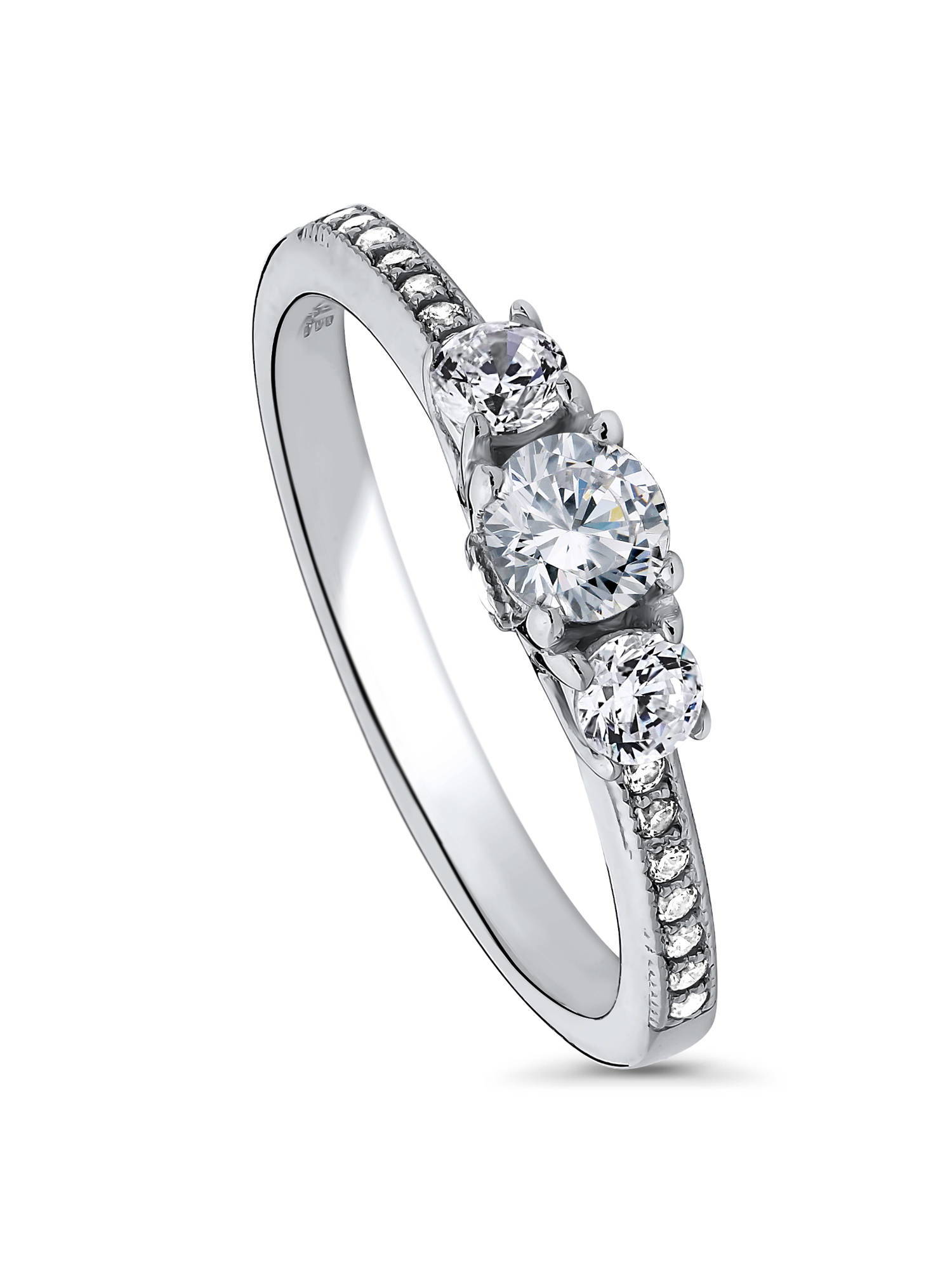 BERRICLE Sterling Silver Round CZ 3-Stone Anniversary Promise Engagement Ring