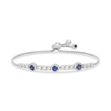 Inspired by You Round Prong Set Simulated Blue Sapphire and Cubic Zirconia Adjustable Tennis Style Bridal Bracelet for Women in Rhodium Plated 925 Sterling