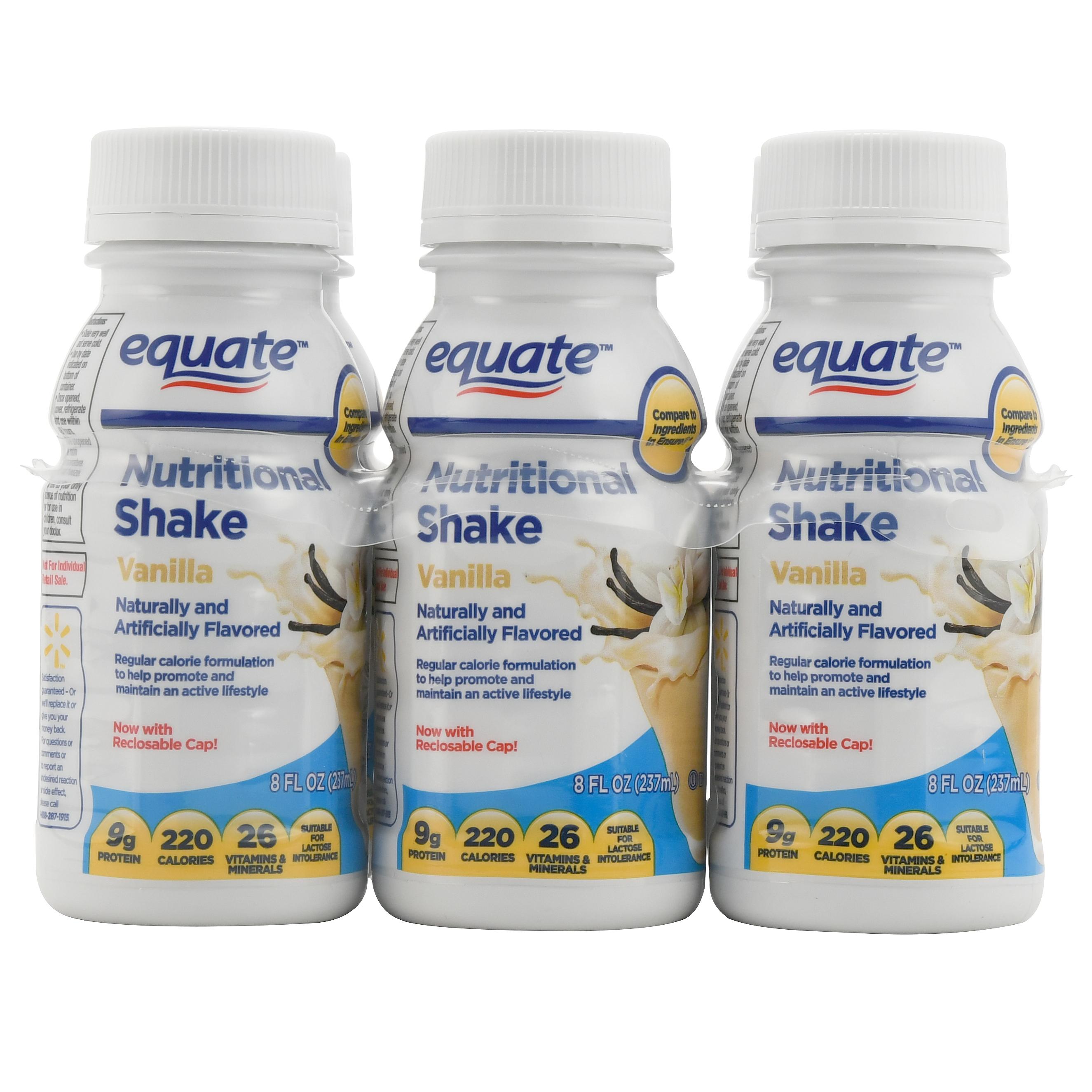 Equate Vanilla Nutritional Shake, 8 Fl Oz, 6 Ct
