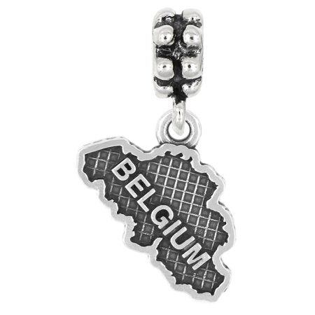 Coral Sterling Silver Dangle Bead - Sterling Silver Travel Country Map of Belgium Dangle Bead