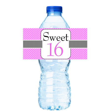 Sweet 16 Sweet Pink Birthday Party Table Decoration 15ct Water BottleStckers Labels - Sweet 16 Decoration Ideas