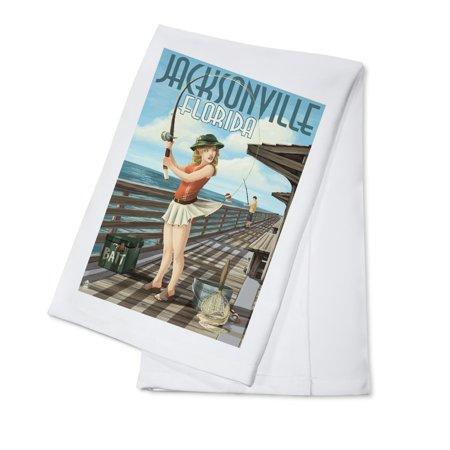 Jacksonville, Florida - Fishing Pinup Girl - Lantern Press Artwork (100% Cotton Kitchen Towel) (Halloween Jacksonville Florida)