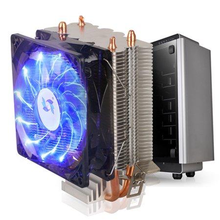 CPU Air Cooler, EEEkit Blue LED CPU Fan with 90mm Fan, Universal Socket Solution, for LGA 1150/1151/1155/1156/775, Core i3 i5 i7 Core 2 Duo AMD AM4/AM3+/AM3 (Best Core I5 Cpu Cooler)