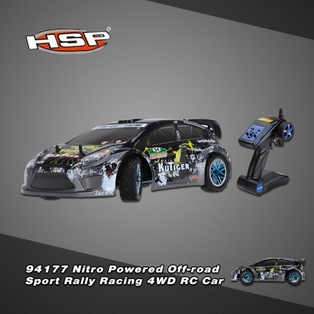 Original HSP 94177 Nitro Powered Off-road Sport Rally Racing 1/10th Scale 4WD RC Car KUTIGER Body with 2.4Ghz 2CH Transmitter RTR Version ()