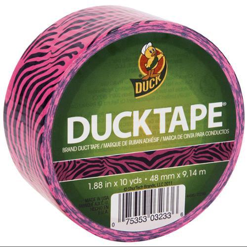 """Patterned Duck Tape 1.88"""" Wide 10 Yard Roll-Pink Zebra"""