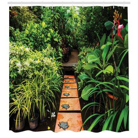 Zen Garden Shower Curtain, Lush Garden with Tropical